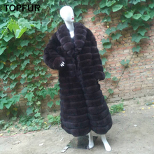 TOPFUR Real Fur Female Coat For Women Fashion Winter Thick Fox Long Jacket Luxury Black Natural