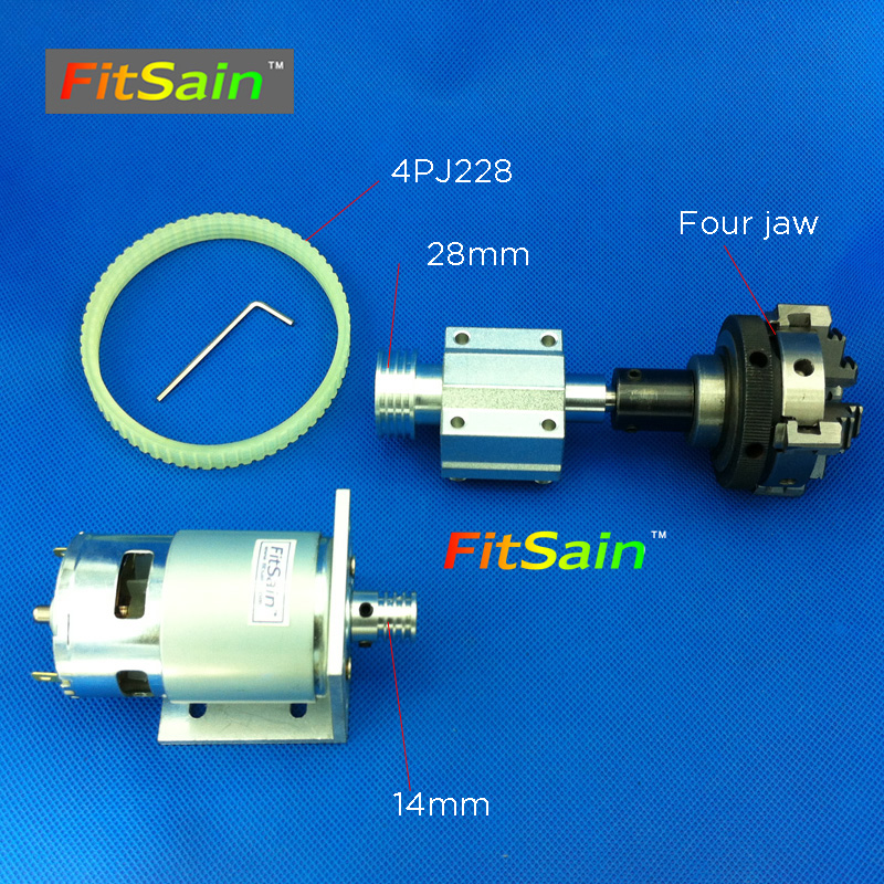 FitSain-775 DC24V 8000RPM motor pulley four jaw chuck D=50mm Machine Pulley Bench mini Lathe spindle 775