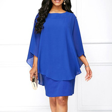 2019 Summer Women Blue Work Office Chiffon Dress Plus Size 3XL 4XL 5XL Batwing Sleeve Large Size Elegant Boho Chic Beach Dresses