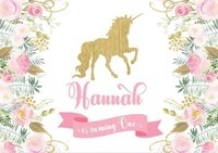 Custom Floral Flower Gold Unicorn Banner Baby Shower background High quality Computer print birthday backdrop