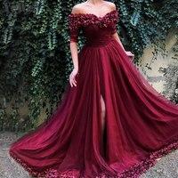 Пикантные с открытыми плечами цвет красного вина вечерние платья 2019 Половина рукава простые цветы пляжные Вечерние платья Вечернее платье