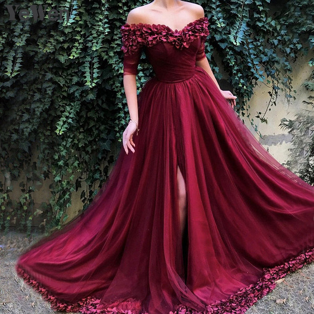 Sexy Off Shoulder Wine Red Evening Dresses 2019 Half Sleeves Simple Sexy Beach Evening Gowns Off shoulder Prom Dress Long 6002