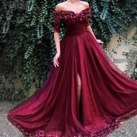Sexy Off Shoulder Wine Red Evening Dresses 2019 Half Sleeves Simple Flowers Beach Evening Gowns Formal Prom Dress Long 6002