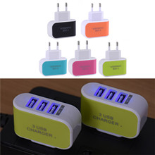 Candy Color US Plug 3 Ports USB AC Wall Power Charger for Mobile Phone Tablet