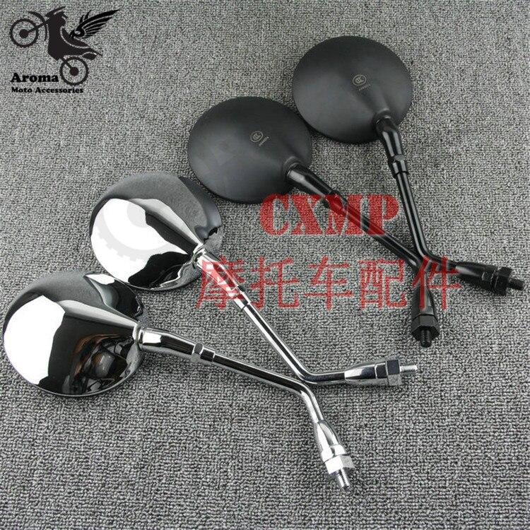 top quality chrome silver black round motorbike side mirror for honda suzuki Kawasaki yamaha moto mirror rearview motorcycle