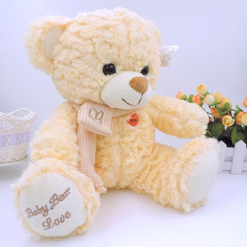 (1 piece) Huggable Teddy Bear Plush Stuffed Toys Kawaii Sitting Bears Brown White Yellow Children Baby Kids Gifts
