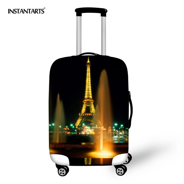 d18a14516dbe US $16.52 13% OFF|INSTANTAR Luggage Protective Covers Pair Eiffel Tower  Print Thick Elastic Suitcase Dust Rain Cover for 18 30 Inch Travel Cases-in  ...