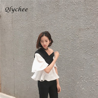 Qlychee Fashion Color Block Ruffles Blouse Women Patchwork Short Shirt Floral Sleeve Tops Blusas
