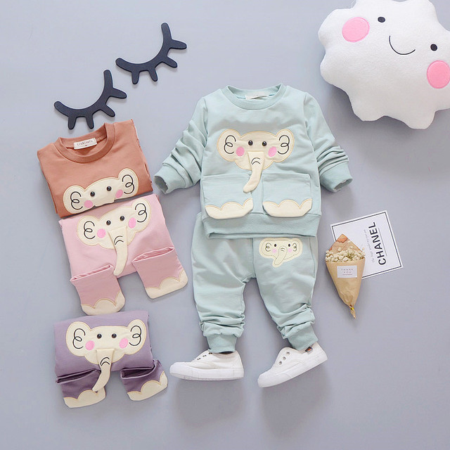 Baby Boys Clothes Kids Clothing Set Children Girls Suits Tracksuits Cotton Long Sleeve T-Shirt + Pants Cartoon Elephant Vestidos