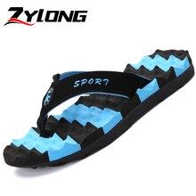 Plus Size 36-48 Mens Slippers Outdoor Flip Flops Comfort Soft Message Blue Stripe Beach Chancla Hombre