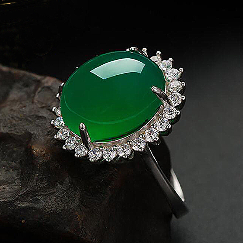 Ruifan Silver 925 Jewelry Nature Oval Green Chalcedony Ring Adjustable Zircon Emerald Rings For Women Gift For March 8 YRI062