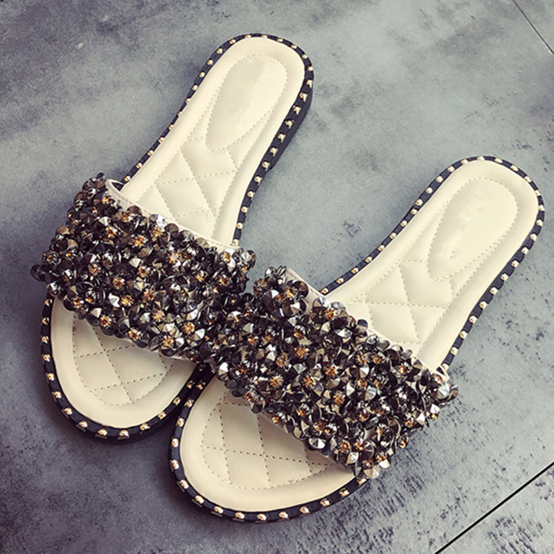 Women Sandals Flip Flops 2018 New Summer Fashion Rhinestone Wedges Shoes Woman Slides Crystal Beautiful Lady Casual Shoes Female wastyx new 2017 summer fashion cowboy women sandals casual women flip flops shoes wedges shoes woman