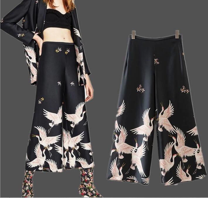 Spring Summer Women Casual   Pants   Retro Crane Pattern Print Loose High Waist   Wide     Leg     Pants   Female Trousers Black