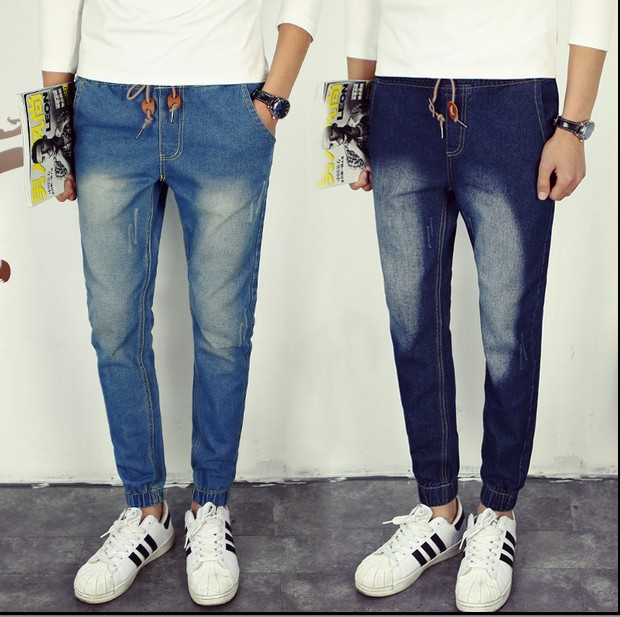 2016 Man Jeans Men Elastic Drawstring Waist Jean Plus Size Small Cuff Casual Slim Jeans Pants Plus Size 5XL 4XL 3XL