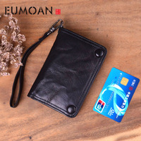 EUMOAN Handmade wallet men's short section vertical leather retro wallet female youth Japanese and Korean vegetable tanned lambs