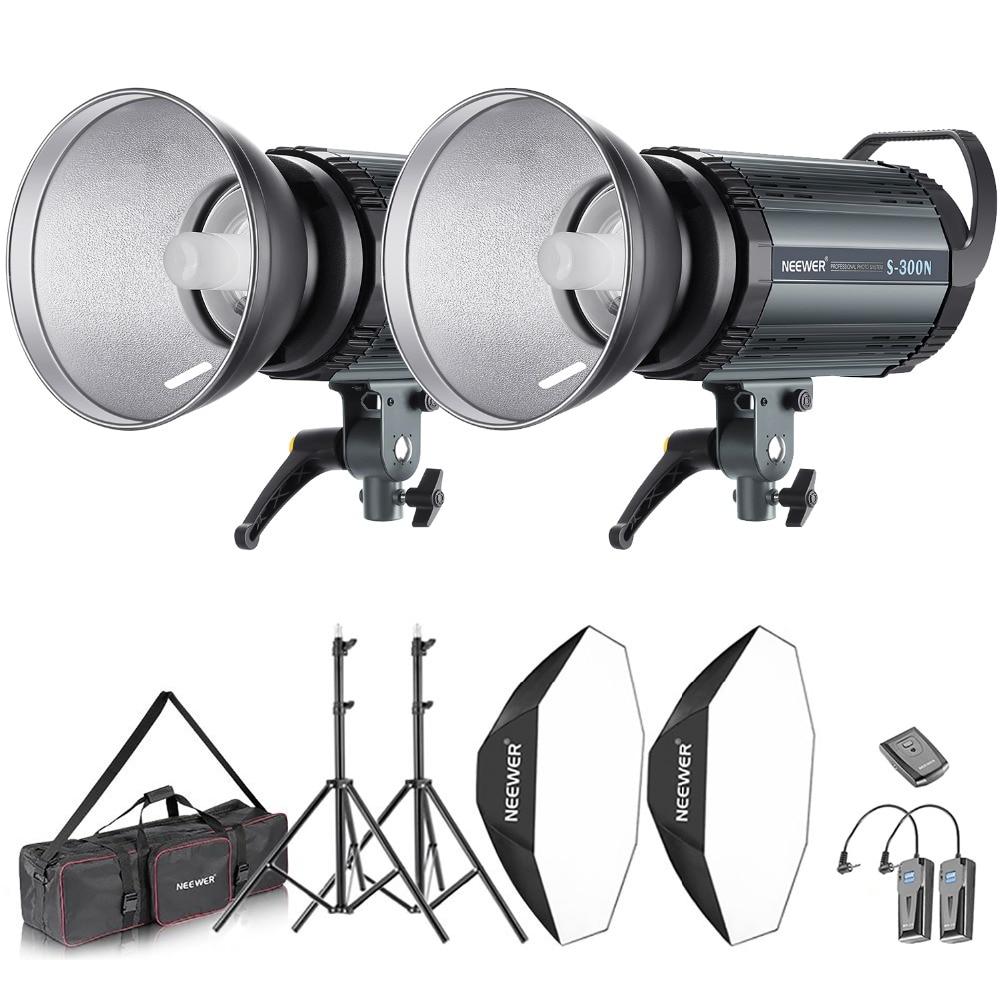 Neewer 600W Photo Studio Strobe Flash and Softbox Lighting Kit: (2)300W Monolight Flash(S 300N)+(2)Reflector Bowens Mount