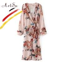 ArtSu Vintage Floral Printed Long Shirts Blouse 2017 Women S Silk Kimono Cardigan Sashes Long Sleeve
