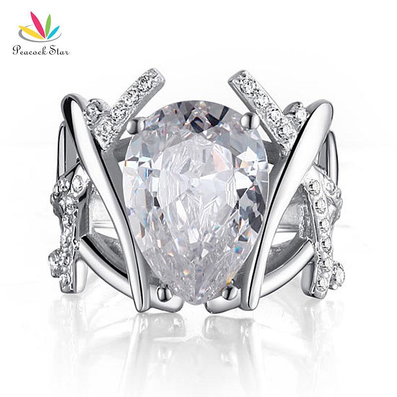 Павлин звезда 4 карата жемчужина вырезанные Твердые стерлингового серебра 925 Обручальное кольцо ювелирные изделия CFR8018