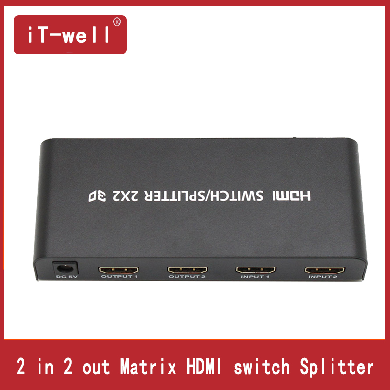 Premium 2x2 Matrix HDMI Switch Splitter 2 in 2 out HDMI Converter Adapter With Remote Control Supports HDMI 1.4 3D 1080p 4K x 2K цена