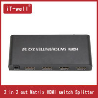 Premium 2x2 Matrix HDMI Switch Splitter 2 in 2 out HDMI Converter Adapter With Remote Control Supports HDMI 1.4 3D 1080p 4K x 2K