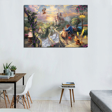 Beauty Beast Falling In Love By Thomas kinkade Canvas Painting Print Living Room Home Decor Modern Wall Art Oil Poster