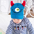 New Kid Beanies Cute Cartoon Horn Caps Funny Eyes Embroidery Skullies Children Knitting Fleece Hats Boys Girls Photography Props