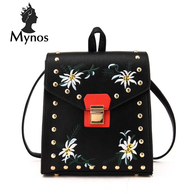 MYNOS Embroidery Fashion Travel Women Backpack Rivet Leather School Backbag For School Girl Mochila Escolar Back Pack Bag Female mynos 100