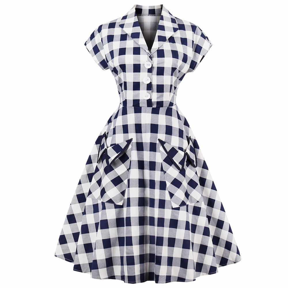 Халат Одри Хепберн Pinup платье размера плюс 4XL в клетку женские вечерние платья в винтажном стиле ретро Свинг рокабилли Vestidos Feminino