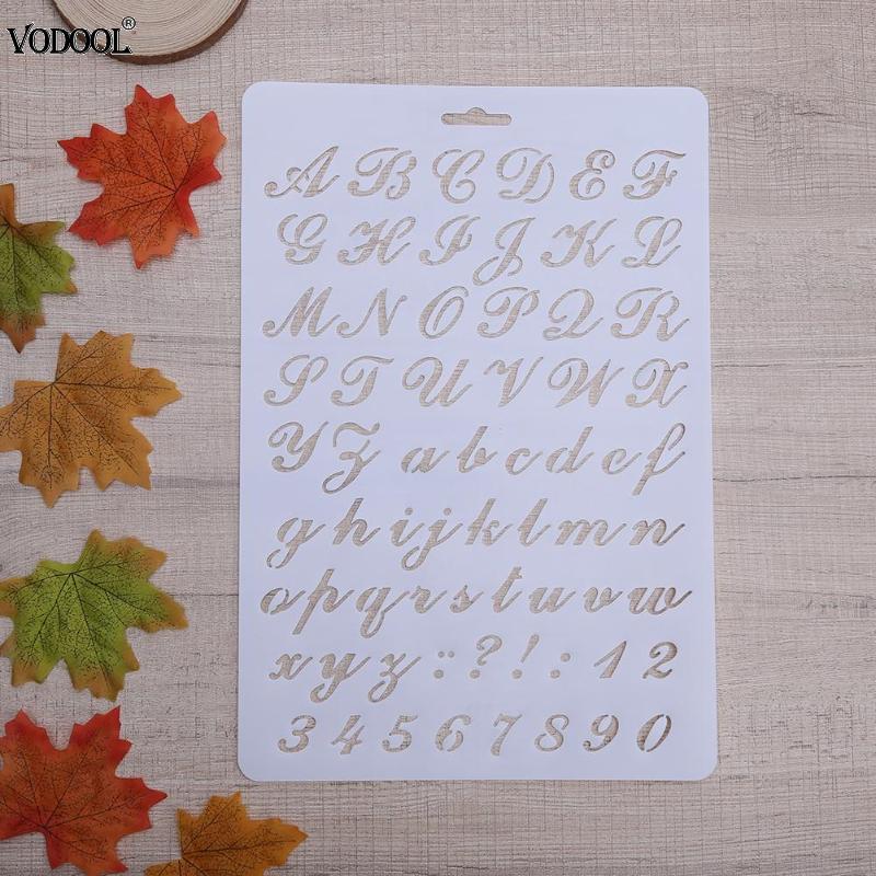 Трафареты с буквами алфавита и цифрами для творчества, полые трафареты для рисования, бумажные крафтовые украшения для дневника, школьные п...