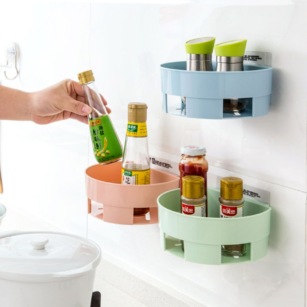 1pc Round Wall Adhesive Bathroom Corner Shelf Rack Storage Tray Edge  Plastic Organizer Bathroom Shelf Storage In Storage Holders U0026 Racks From  Home U0026 Garden ...