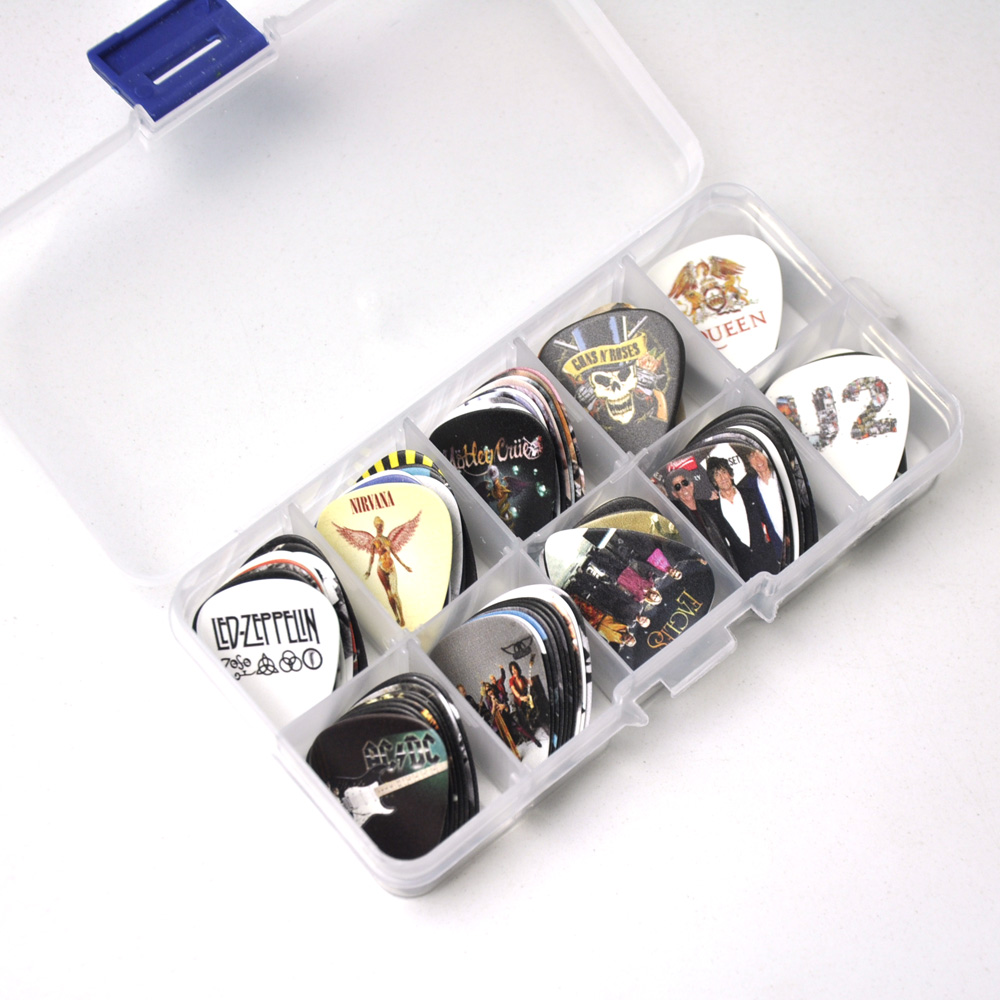 Image 3 - Lots of 100Pcs Rock Band 2 sides Printing Guitar Picks Plectrums With box LED Zeppelin Nirvana ACDC Aerosmith-in Guitar Parts & Accessories from Sports & Entertainment