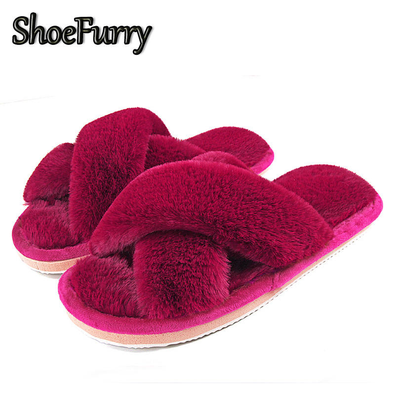 ShoeFurry Winter Fur Slippers Shoes Woman Big Size Furry Shoes Warm Home Slippers Women Plush Bedroom Slipper Indoor Cotton Shoe