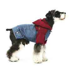 Pet Dog Cat Clothing Clothes Teddy Schnauzer Winter Suit Cotton Jeans Jacket Anti-stati Hoodie