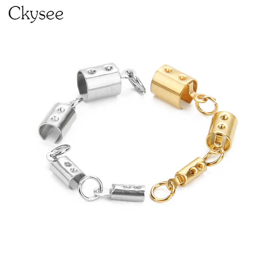 Ckysee 10Pcs Gold Color Stainless Steel Cord Crimp End Beads Caps Fit 2.5/3.5/4.5/6mm Rope Chain Bracelet Diy Jewelry Making