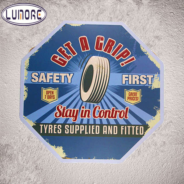 Get A Grip Safety First Vintage Tin Signs Garage Rustic Wall