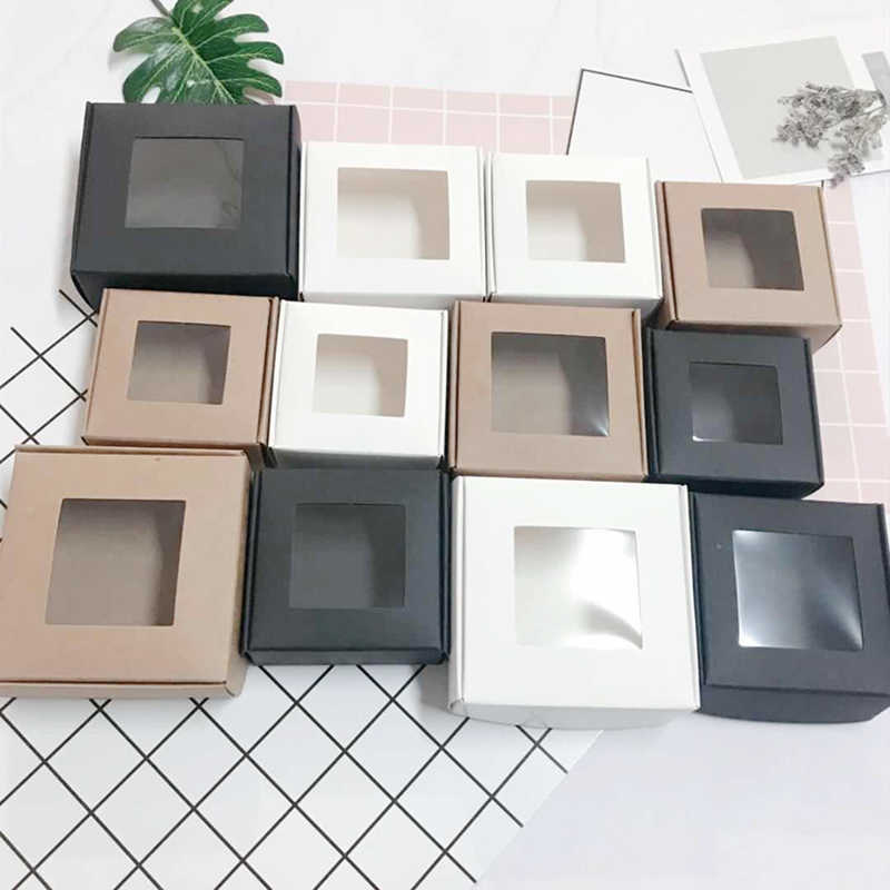 50pcs  white foldable paper box kraft with pvc window black craft wedding candy box packing gift cardboard boxes package