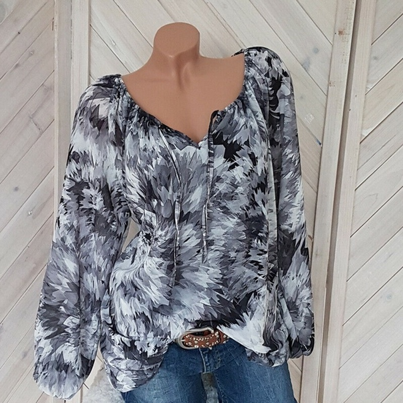 Plus Size 5XL Top Women   Blouses   Casual Beach Long Sleeve Loose   Shirt   Summer Blusa Black Ink Print   Blouse   V Neck Womens Clothing