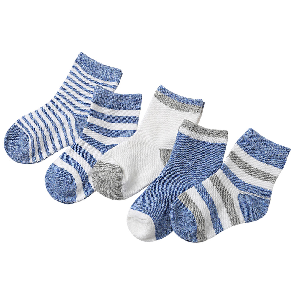 5 Pairs Cute Children Socks Comfortable Striped Print Breathable Baby Newborn Boys Girls ...
