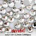 Super Brilhante Crystal Clear Strass Para Unhas Decoração Art 1440 pcs ss12 3.0-3.2mm Natator Não Hotfix Cola em Diamantes De Vidro
