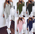Womens Invierno Irregular Camisa de Punto de Manga Larga Jumper Tops Lace Up Dividir Suéter Ocasional Superior
