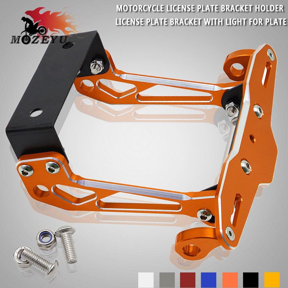Orange Moto Support de Cadre De Plaque D'immatriculation CNC Support avec LED Lumière Blanche pour KTM 125 200 250 390 690 790 1290 Duc RC390