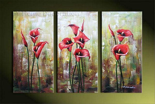 Free Shipping Pure Handmade Oil Painting Calla Lily Flowers Living Room Artwork Wall