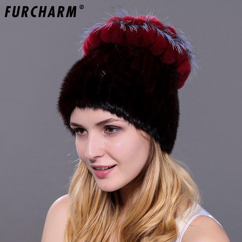 Mink Fur Women's Knitted Cap with Luxury Rex Rabbit Fur Flower Top High Quality Mink Hats for The Winter Headgear for Women стоимость