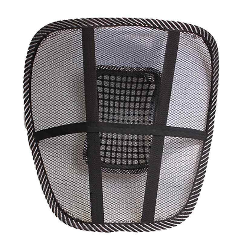 Pano de malha almofada do assento de carro lombar apoio da cintura travesseiro lombar automóveis cadeira escritório alívio dor nas costas acessórios automóvel preto
