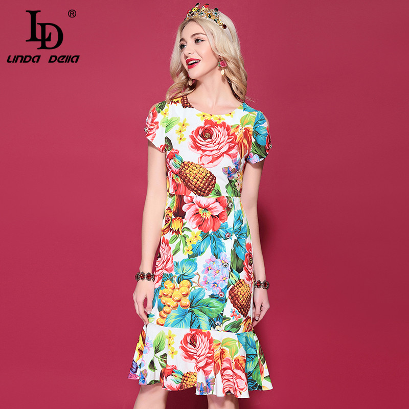 LD LINDA DELLA 2019 Fashion Runway Summer Dress Women Multicolor Floral Print Ruffles Slim Mermaid Sheath