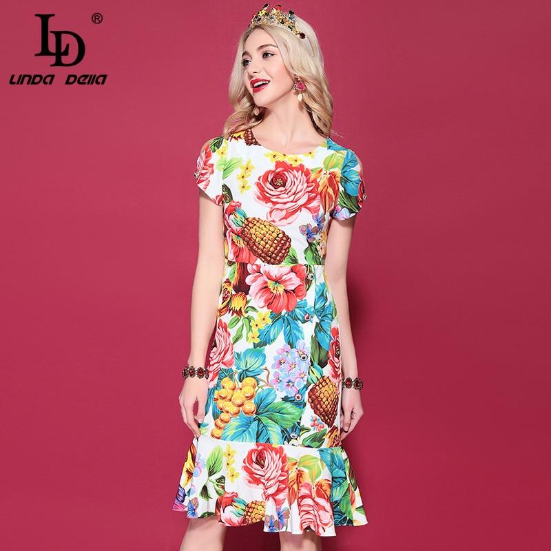 LD LINDA DELLA 2019 Fashion Runway Summer Dress Women Multicolor Floral Print Ruffles Slim Mermaid Sheath