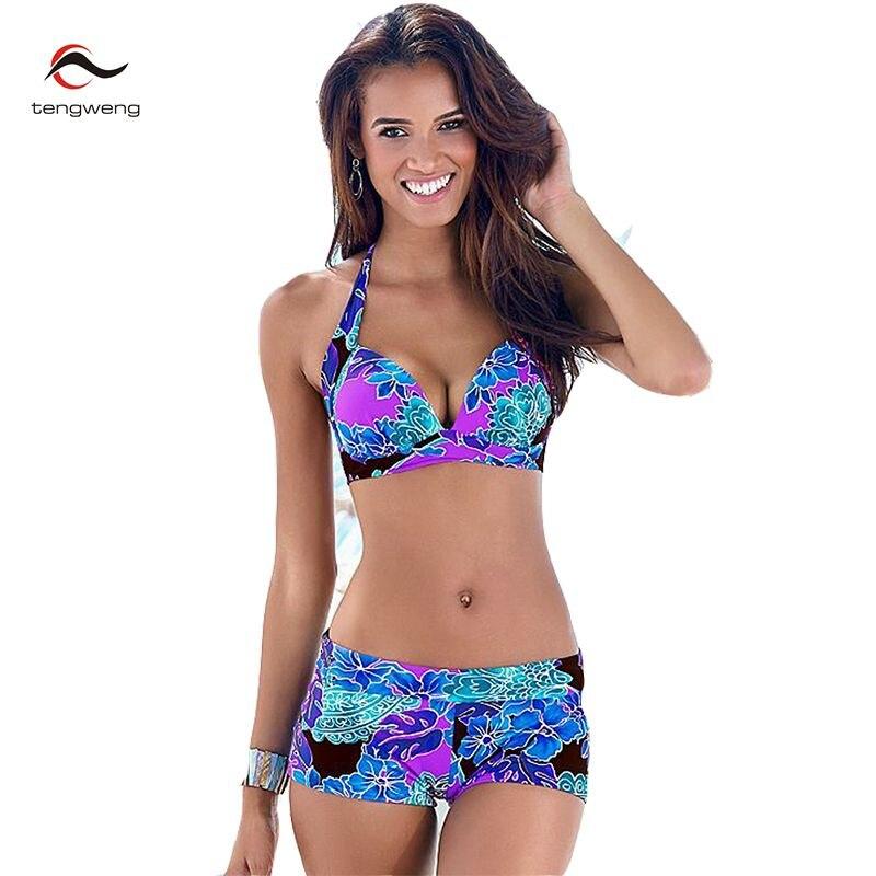 2017 Women Sexy 2 Pcs Halter Print Floral Tankini Swimsuit Brazilian Bikini Set Retro Bathing Suit Plus Size Swimwear Shorts 3XL