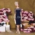 Темно-Синий 2016 мать невесты Платья Бисероплетение Шифон Плюс размер Половина Рукава Длиной до колена мама Невесты Жених Платье