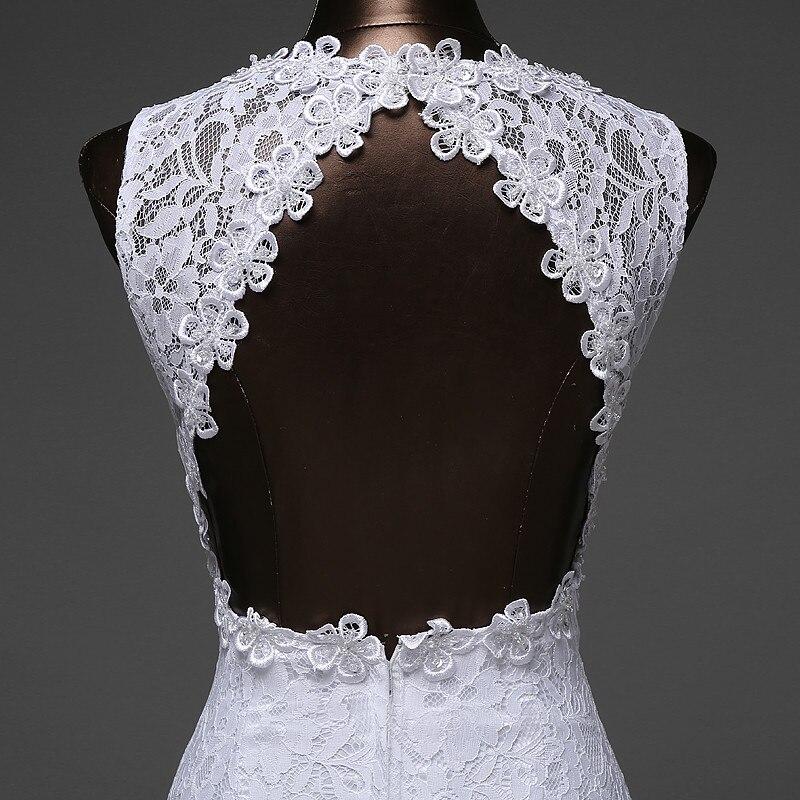 V-Neck Beautiful Backless Mermaid Wedding Dress 5