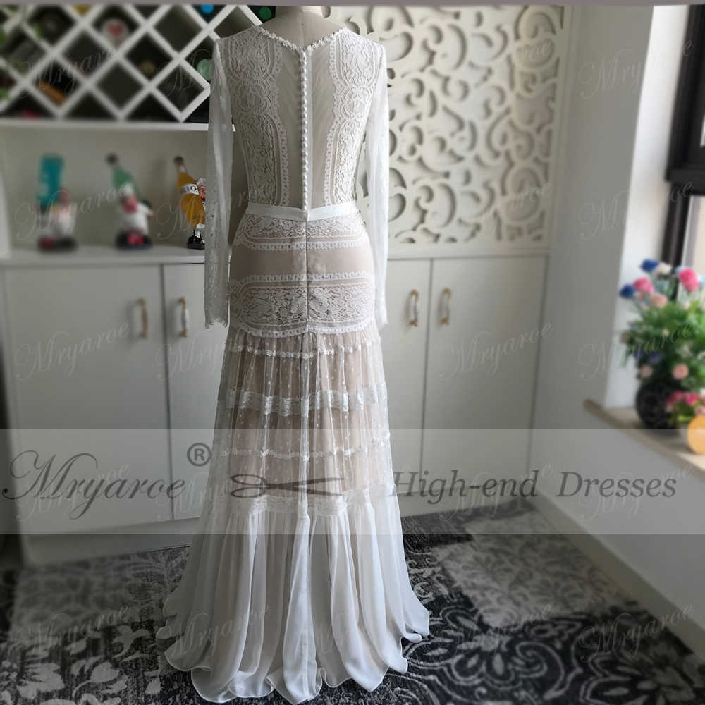 e54919b080 Mryarce 2019 Chic Wedding Dresses Unique Lace Charming Polka Dots long  Sleeve Wedding Dress Bohemian Bridal Gowns